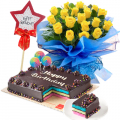 send birthday cake with flowers combo in cebu